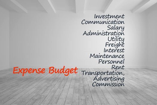 Expense budget terms written in bright room