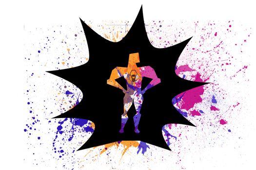 Superhero over splashes