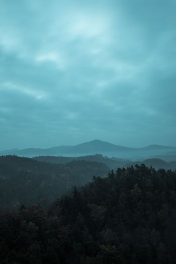 Trees and mountain range against cloudscape