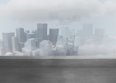 Cityscape in the fog