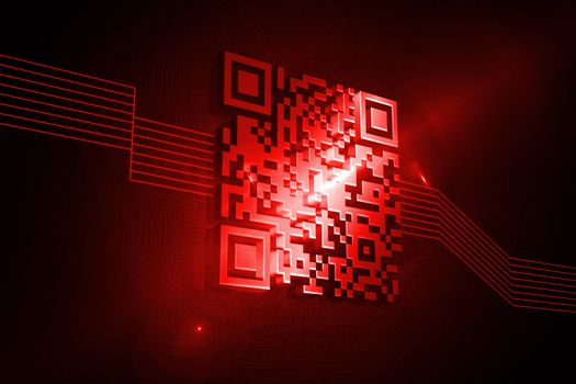 Shiny red barcode on black background