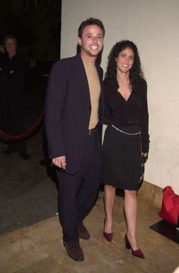 """David Lascher and date at the party to celebrate the 100th episode of """"Sabrina the Teenage Witch"""" in Hollywood, 10-23-00"""