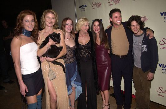 """Cast of Sabrina at the party to celebrate the 100th episode of """"Sabrina the Teenage Witch"""" in Hollywood, 10-23-00"""