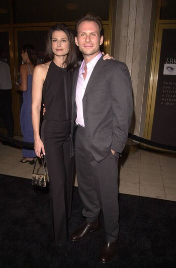 """Christian Slater and wife Ryan Haddon at the premiere of Dreamworks """"The Contender"""" in Westwood, 10-05-00"""