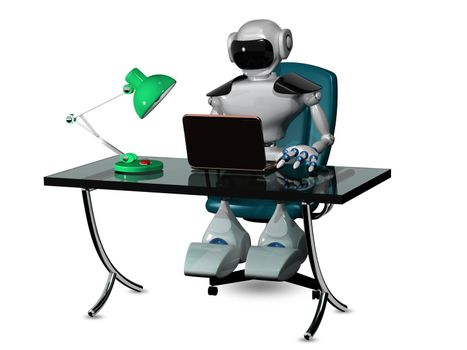 3d abstract illustration of a robot at the table