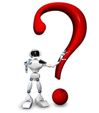 3d illustration of a robot and a question mark