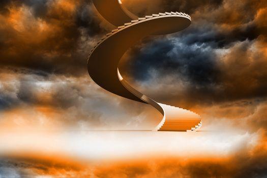 Winding staircase in orange sky