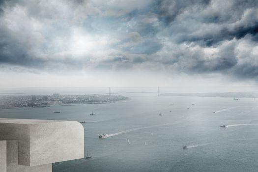 Coastline and city