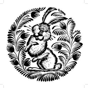 decorative silhouette of a hare