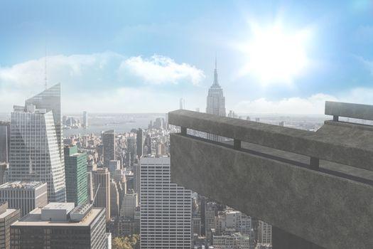 Balcony overlooking city
