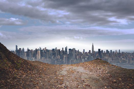 Large city on the horizon