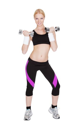 Fitness woman doing weight training
