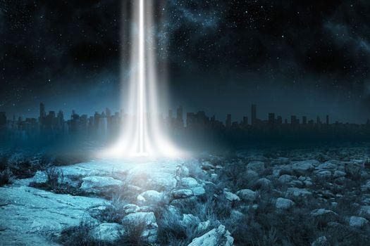 Rocky landscape with light beam