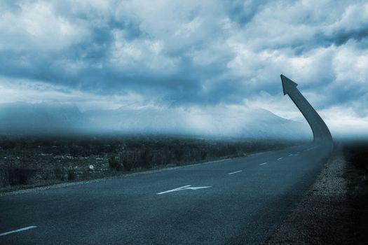 Road turning into arrow