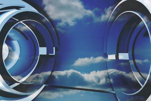 Clouds in a futuristic structure
