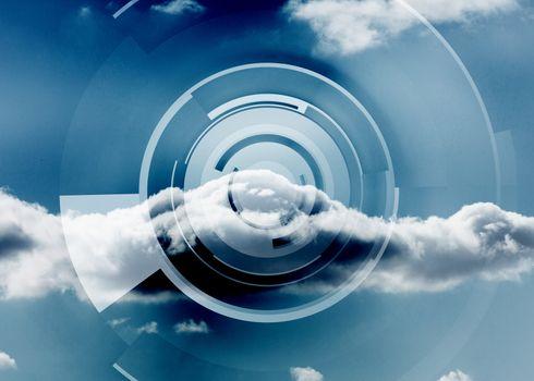 Cloud on a futuristic structure