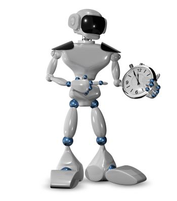 3d illustration of  robot and a watch