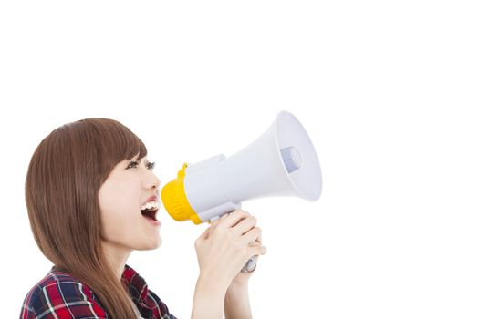 young woman holding megaphone