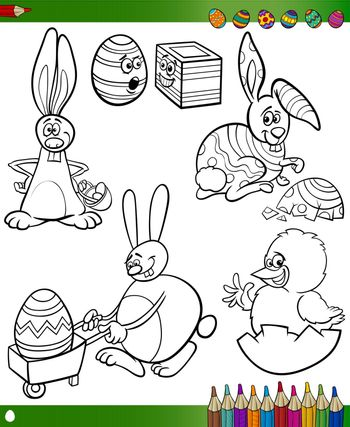 Easter Themes Collection Set of Black and White Cartoon Illustrations with Bunnies and Chicken for Coloring Book