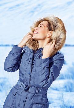 Woman enjoy winter nature