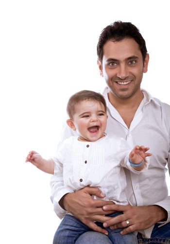 Happy father with baby