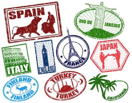 Set of stylized grunge travel stamps on white, vector illustration