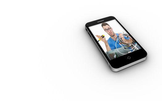 It technician on smartphone screen