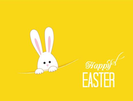 Yellow background with white Easter rabbit