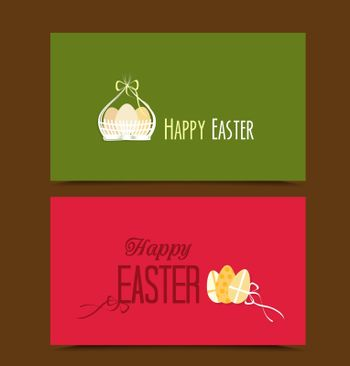 Two cards with background Easter basket and eggs