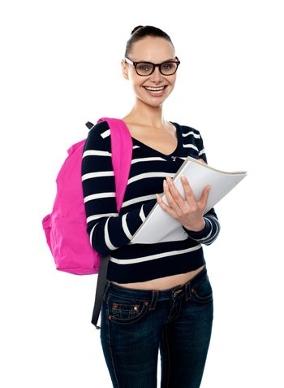 University girl posing with backpack