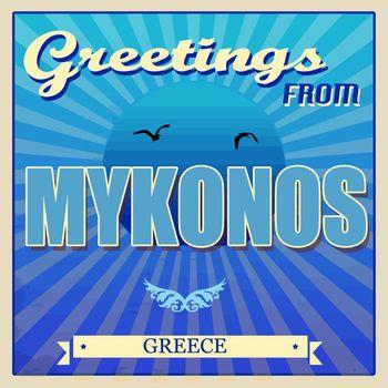 Mykonos, Greece touristic poster