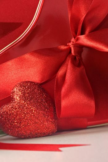 Closeup of hearts and red ribbons