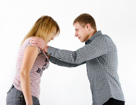 young woman fighting with a man