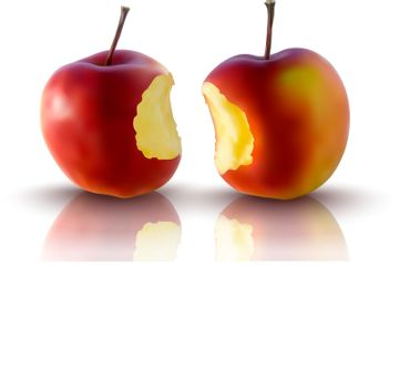 realistic illustration of red apples - vector illustration