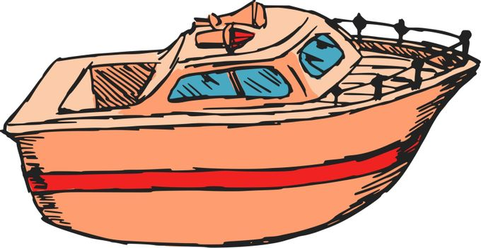 hand drawn, cartoon, sketch illustration of motor boat