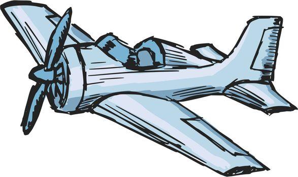 hand drawn, cartoon, sketch illustration of cartoon airplane