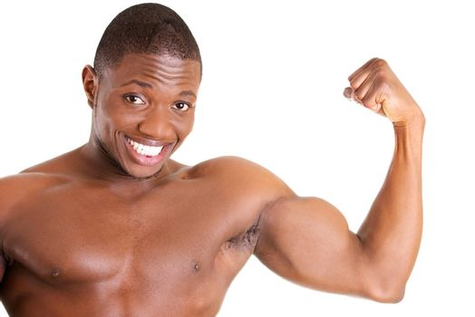 Muscular black man, against white background