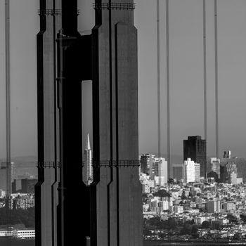 San Francisco Golden Gate Bridge through cables in California