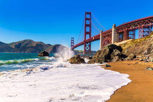 San Francisco Golden Gate Bridge Marshall beach California