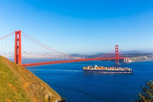 San Francisco Golden Gate Bridge merchant ship in California