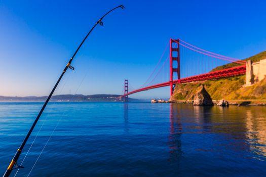 San Francisco Golden Gate Bridge with fishing rod