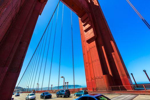 Golden Gate Bridge traffic in San Francisco California