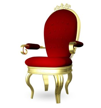3d illustration of a red gold throne