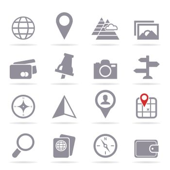 Set of icons travel. A vector illustration