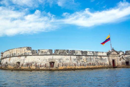 View of the historic Bocachia Fort near Cartagena, Colombia