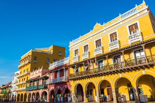 Facades of several historic buildings in the colonial center of Cartagena, Colombia