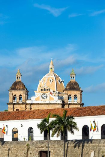 Colonial architecture and San Pedro Claver church in the historic center of Cartagena, Colombia