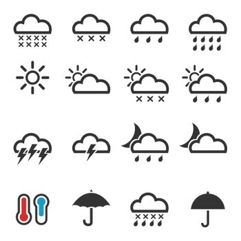 Set of icons weather. A vector illustration