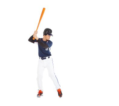 Baseball player prepare pose  with bat on the side.