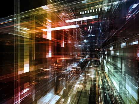 City Lights series. Backdrop of technological fractal textures on the subject of science, technology, design and imagination